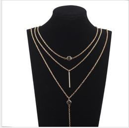 2020 silberne dreifachkettenhalskette Dreischichtiger Halskettenschmuck Individueller mehrschichtiger Anhänger Zarte Schlüsselbeinkette rabatt silberne dreifachkettenhalskette