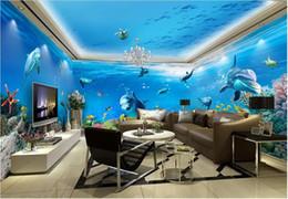 Casa de delfines online-Foto de encargo de wallpaer 3d Sea world dolphin fish casa de fondo completo pared sala de estar decoración para el hogar murales de pared 3d papel tapiz para paredes 3 d