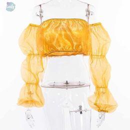 Camisola de alças amarela on-line-Malha Sexy Yellow Regatas Mulheres verão Sólido Cropped Casual Shoulder Top Feminino Off Moda Sólidos Top Curto Nova