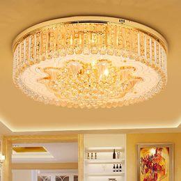 Nuevo diseño de arañas de cristal iluminaciones champagne oro redondo araña dormitorio sala de estar lámparas de techo LED luces de cristal europeo desde fabricantes