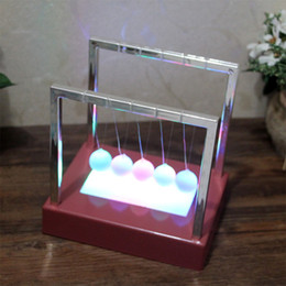 large ball party Coupons - Newtons Balance LED Balls Large Pendulum Educational Cradle Balance Colorful Balls Desk Decor Toys 5.9*5.9*4.33inch DH1091-1