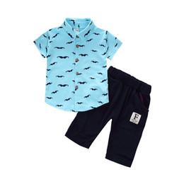 Canada L'été bébé garçons filles vêtements ensembles enfants vêtements T-shirt court 2PCS / Set Cartoon Moustache enfants Sport Suits Infant Offre
