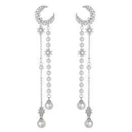 Koreanische sternmädchen online-Koreanische lange Sterne Quaste Zirkon Mond Ohrringe 925 Silber Nadel Temperament Super Fee Mädchen Perle Quaste Ohrringe weibliche Luxus Ohrringe