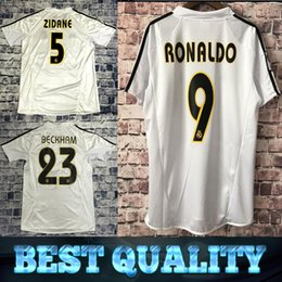 Camisetas de fútbol de bala online-Ronaldo Benzema Bale Isco BECKHAM 2004 2005 Retro Fußballhemd Real Madrid 13 14 Fußball Langarmtrikot Vintage Champions-League-Finale