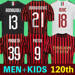 Camisetas de fútbol para niños online-AC Milan 19 20 camisetas de fútbol Ibrahimovic PIĄTEK PAQUETÁ 2019 2020 ac Milan camiseta de fútbol BONUCCI KESSIE ANDRE SILVA CONTI Camisa CALHANOGLU KALINIC BONAVENTURA maillot