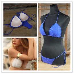Algodón de ganchillo hecho a mano traje de baño de las mujeres Playa / Piscina triángulo Bikini Crochet TRAJE DE BAÑO ¡Caliente! Algodón acrílico algodón desde fabricantes
