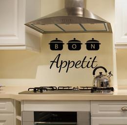 Kücheninnenraum online-Bon Appetit Kitchen Wandtattoo Herausnehmbare Innen Cafe Restaurant Art Wandvinyl Pans Kitchen Ware-Wand-Aufkleber-Dekor