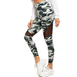 Leggings de camuflaje online-NORMOV Camuflaje de Moda Leggings Mujeres Contraste de Malla Insertar Camo Imprimir Leggings Entrenamiento de Fitness Sexy Legins Mujer Pantalones