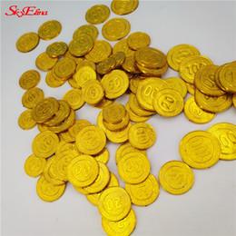 monete d'oro di plastica Sconti Monete 100pcs Pirates Gold Plastic gioco moneta per le monete Kid partito Prop oro tesoro per Halloween Party Decorazione natalizia 6Z