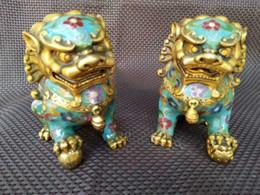 2019 chinesisch foo hund statue paar Ein Paar chinesischer Cloisonne-Kupfer-Statue Lion Foo Dog rabatt chinesisch foo hund statue paar