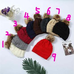 Pom-poms maschili e femminili in pelliccia con fodera cappello moda cappello invernale in maglia di lusso cappello casual cappello casual 20 pezzi da