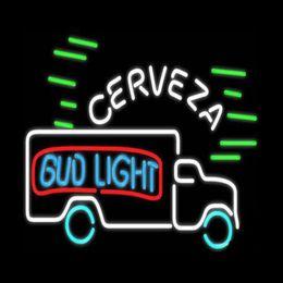 """Benutzerdefinierte neon kommerzielle zeichen online-Bud Light Cerveza LKW-Neonzeichen Benutzerdefinierte handgemachtes reales Glasrohr Shop Beer Bar Transport kommerzielle Werbung anzeigen Neon Signs 24 """"x24"""""""