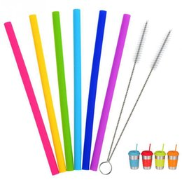 reusable bottles Promo Codes - Silicone Drinking Straws Tumbler Reusable Food Grade Straws Bent Straight Bottles Straws Set Cleaner Brush Eco-friendly Straw BH1732 TQQ