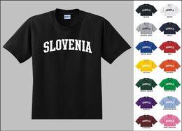 países engraçados Desconto País da Eslovénia Letras Da Faculdade T-shirt Engraçado frete grátis Unisex Casual Tshirt top