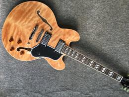 Parte superior de arce de cuerpo hueco online-Envío Gratis NUEVA Custom 335 Jazz Guitarra Eléctrica con traste vinculante Semi Hollow Body Archtop Guitarra Maple Natural Top Foto real que muestra