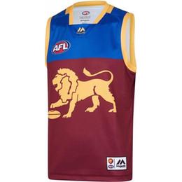 Без рукавов трикотажные изделия футбола онлайн-2019 2020 AFL Brisbane Lions HOME футбола регби Джерси AFL Tercel футбольных рукава рубашки Джерси самец ястреба Vest з-3xl