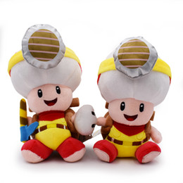 mushroom anime Coupons - 22cm Miners mushrooms Toad Plush Stuffed Toy Mario plush toys best gift doll lol free shipping