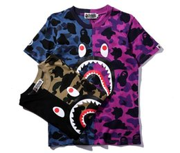 2020 shirt shark 18ss Mens Designer T Shirt T-shirt Apes Maglietta SHARK Head Camo in cotone T-shirt sportiva HIP HOP Short vetements shirt shark economici