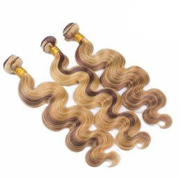 Tramas de pelo rubio marrón online-El pelo humano brasileño de la virgen teje 4 27 Extensiones de cabello de color piano Ombre 3 Ofertas de paquetes Mezcla de color Marrón Miel Rubia Tramas de cabello
