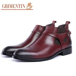 dress ankle boots for men Promo Codes - GRIMENTIN 2020 New brand men boots genuine leather boot wine-red black fashion casual male dress ankle boots for mens shoes