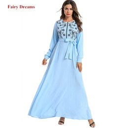 dubai islamic robe Rebajas Mujeres Abaya marroquí turco largo vendaje musulmán vestido Dubai Bangladesh Kaftan bordado ropa islámica más tamaño Robe 2019