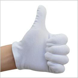 Trabalhando luvas de algodão on-line-Algodão branco Cinco Dedo Luva Durável Anti Skid Lisle Luvas de Trabalho Conforto Para Usar Luvas Úteis 0 32cx BB