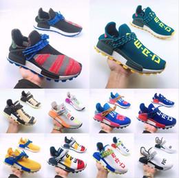 2e4a2495 Human Race Trail diseñador Zapatos Hombres Mujeres Pharrell Williams HU  Runner Amarillo Negro Blanco Rojo Verde Gris Azul Sport Runner Sneaker 36-47
