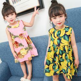 robe de fruits filles Promotion Bébé filles robe enfants jupe impression robe princesse robe gilet jupe col rond sans manches impression fruits 41