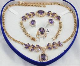 2019 collar de circón morado 919 +++ CALIENTE vender joyas de novia de la boda 18KGP rojo / azul / violeta / rosa verde CZ anillo de circón / brazalete de cristal del collar pendiente collar de circón morado baratos