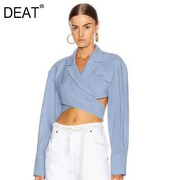 winter blaue bluse frauen Rabatt DEAT 2019 neue Herbst-und Wintermode Frauenkleidung Trend Crossing aushöhlen Shirt Sexy Ernte Bluse Denim blau WJ87105L