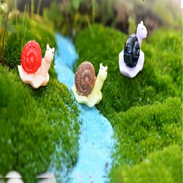 Ferramentas de jardinagem em miniatura on-line-Dos desenhos animados Resina Artesanato Caracol Figurines Fairy Garden Decorações Terrário Miniatures Bonsai Ferramenta Resina Artesanato para a decoração Home