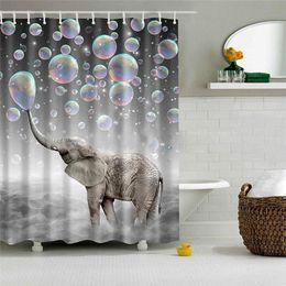 2019 tenda da doccia carina Tenda da doccia in poliestere impermeabile con stampa digitale con 12 ganci - Cute Elephant Blowing Bubbles Elephant sconti tenda da doccia carina