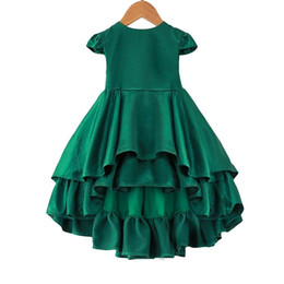 Vestidos de tutú verde online-Sweet Kids Girls Princess Ruffles Layered Party Vestido de color verde Niños Chicas Western Fashion Tutu Dress