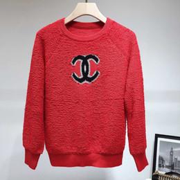 Schafwollkragen online-Womens Pullover klassischen Designer C Alphabet Schaf Kuchen und Wolle Stoff Pullover Sweater Damenmode runden Kragen Pullover