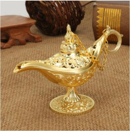 ollas de juguete de metal Rebajas Tradicional ahueca hacia fuera el cuento de hadas de la lámpara mágica de Aladdin Deseando Tea Pot Genie lámpara retro del juguete para la decoración casera Adornos