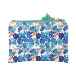 cosmetics vanity bags Coupons - Cute Flamingo Makeup Bag Women Fresh Cosmetic Bag Zipper PU Leather Make Up Pouch Travel Toiletry Organizer Beauty Vanity Case
