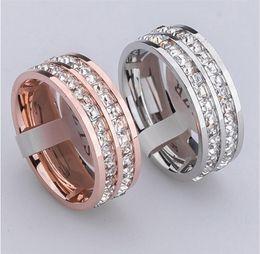 Koreanischen gold paar ring online-Hochwertige koreanische Super Flash ein- und zweireihig CZ Diamant Bohrer Diamantring weibliche Paar Ringe Kristall Rose Gold Titan Stahl
