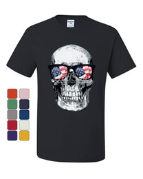 Occhiali online-T-Shirt Skull With Glasses 4Th Of July Maglietta a maniche corte per stelle e strisce T-shirt per uomo T-shirt personalizzata unica manica corta XXXL TV Series