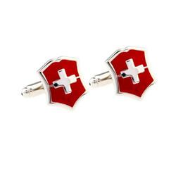 2020 diseño de bandera roja Bandera Roja F5430 Cruz mancuerna estilo simple camisa Gemelos Camisa Botón Manguito Gemelos Diseño Los mejores regalos de lujo diseño de bandera roja baratos
