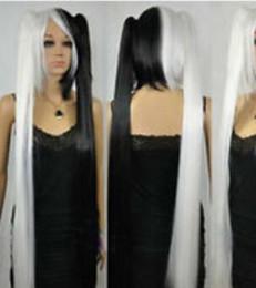 parrucca di ponytail bianca nera Sconti WIG LL 002239 Popolare Ayase Medio Nero + Bianco Parrucca Cosplay Lunga Con Coda di capelli Clip di capelli Regina Kanekalon Fibra non pizzo Capelli pieni
