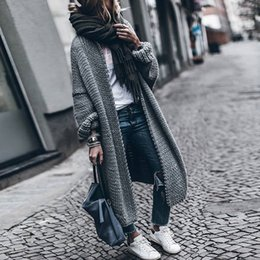 blusas de pescoço de algodão para mulheres Desconto Outono e Inverno de Malha Cardigan Camisola Das Mulheres cor Sólida Grosso Longo Tops Estilo Coreano Feminino Manga Longa Casaco De Malha
