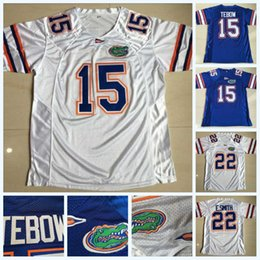 Logotipo do jérsei de futebol on-line-Mens 15 Tim Tebow 22 E. Smith Florida Jacarés NCAA College Football Jersey Duplo Costurado Nome Logos Branco Azul Transporte Rápido