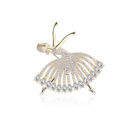 Broche de la mujer Personalidad Moda Bailarines de Ballet Oro Plata Cobre Circón Broche Pin Alta Joyería Accesorios de Alta Calidad desde fabricantes