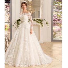 035632e2d78d Bateau Neck Tulle with Lace Appliques A-Line Abiti da sposa Abito da sposa  con maniche lunghe bianco avorio manicotti bianchi del vestito da cerimonia  ...