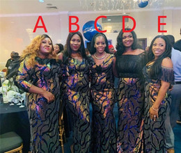 2019 vestito da sera blu della piuma Blue Mermaid Abiti da sera 2019 Elegant Feather paillettes Prom Dress Plus Size africano formali abiti abiti da sera robe de soiree sconti vestito da sera blu della piuma