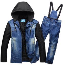 мужские лыжные костюмы Скидка High Quality  Men's Snowboarding Suit Snowboard Jacket and Pant Breathable Snowboard Coat Men Ski Jacket and Trousers Male