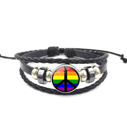 Новый модный дизайн Gay Rainbow Pride LGBT Шарм Плетеный кожаный браслет Gay Lesbian Love Браслеты 12 стилей mix от Поставщики радужный браслет lgbt