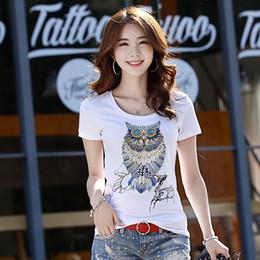 mulheres japonesas Desconto Japão Verão NOVA Moda Feminina imprimir T Camisa Do Laço Do Vintage Tees Lantejoulas Animal Imprimir T-shirt das Mulheres Plus Size bonito da Coruja