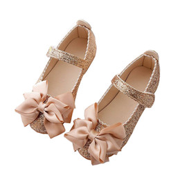 8062b6b8d293 Flowers Children Toddler Baby Little Girl Kids Sequins Bowknot Dress Shoes  For Girls School Gold Party And Wedding Shoes New