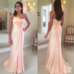pérolas da festa Desconto Pérola rosa bainha vestido de baile de um ombro varrer trem vestidos formais à noite Vestidos De Fiesta